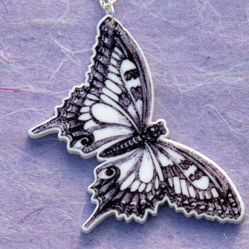 Black and White Butterfly Necklace by Galavant on Etsy