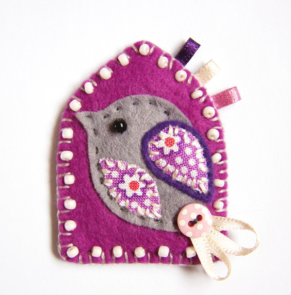 Felt Bird Brooch