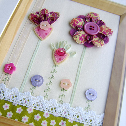 Floral Fabric Framed Picture