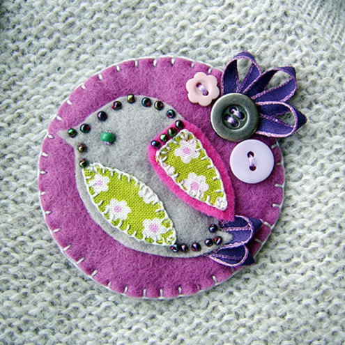Little Bird Fabric Brooch