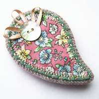 Fabric Paisley Brooch