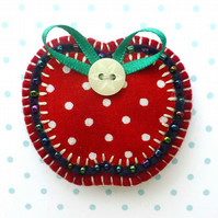 Apple Brooch, Fabric Appliqué Brooch