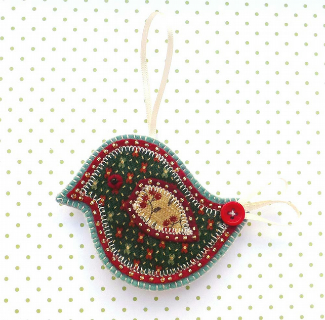 Christmas Bird Decoration, applique felt bird hanging decoration