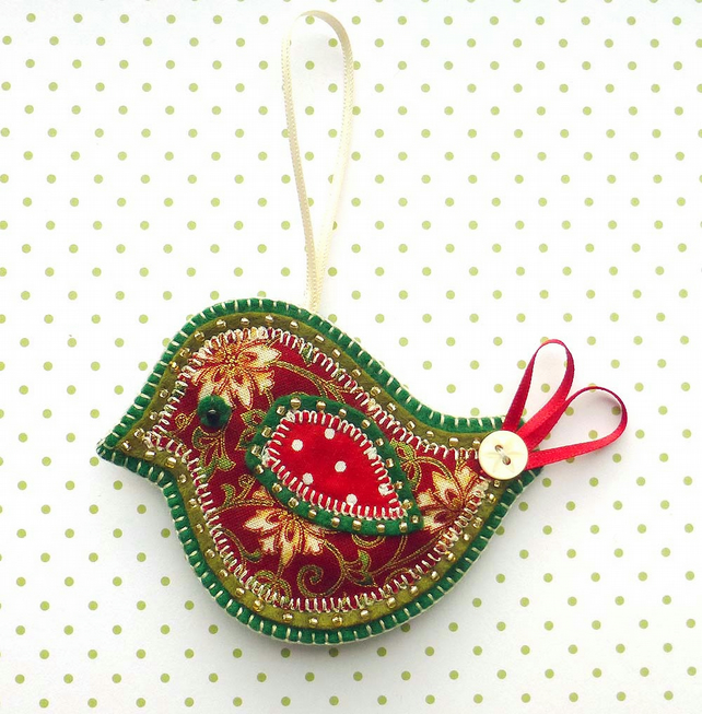 Christmas Bird Decoration, applique bird tree decoration