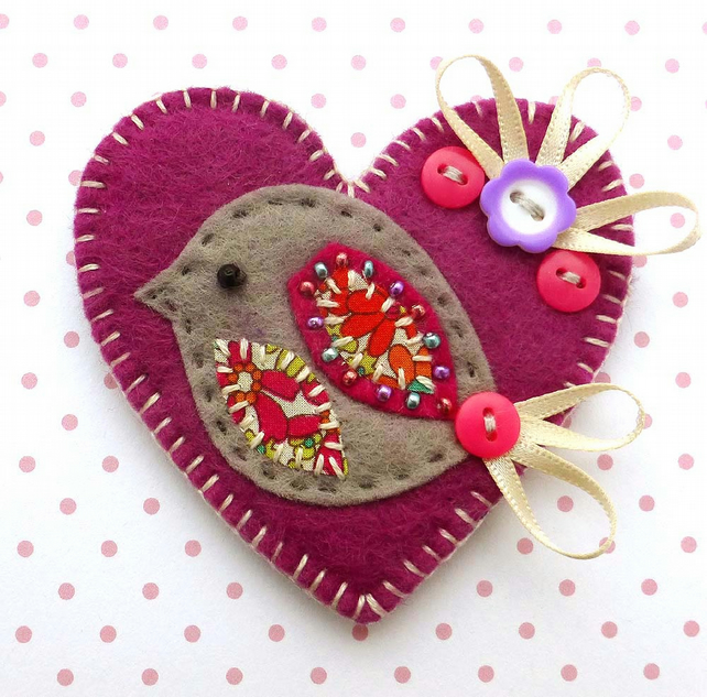 Love Heart Bird Brooch