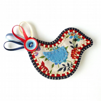 Bird Brooch in red, white and blue!