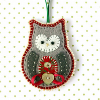 Christmas Owl Decoration, Felt Christmas Owl Ornament