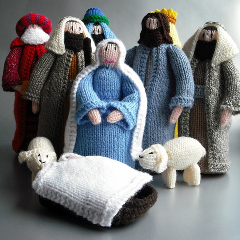 Knitting Patterns For Nativity Figures : HAND KNITTED NATIVITY SCENE - Folksy