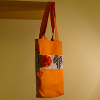 Tote bag with felt brooch - Orange/grey bag