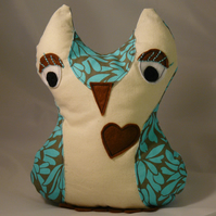 SALE!  Owl Softie - Green/Cream/Brown handmade toy