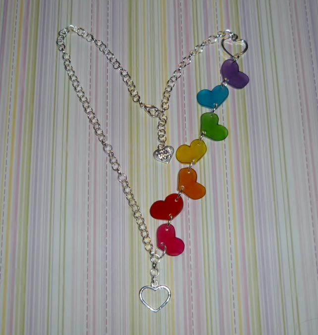 Head Over Heels - Asymmetrical Rainbow Tumbling Hearts Necklace