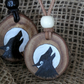 Howling wolf rustic wooden pendant, Twilight, Lycan, Hand painted, pagan,