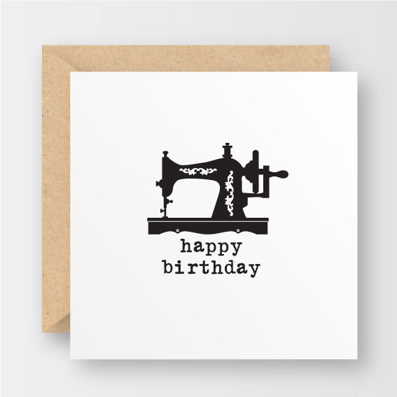 Vintage Sewing Machine Birthday Card