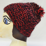 Red and Black Chunky Knitted Hat