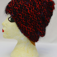 Handmade Chunky Knit Red and Black Hat
