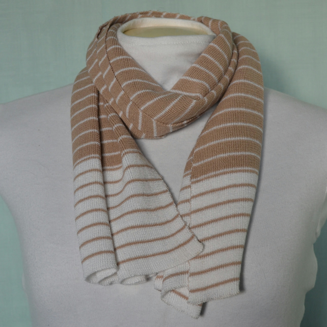 Beige and white stripe scarf