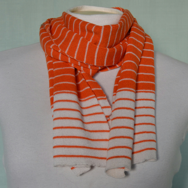 Orange and white stripe scarf