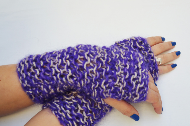 Ladies knit fingerless mittens Purple and White mohair armwarmers