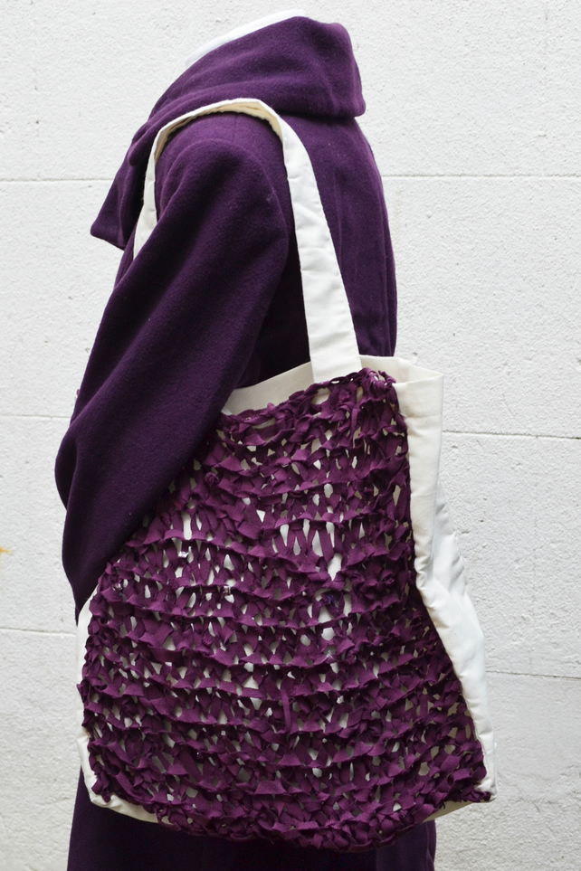 Large Square Knitted Tote Shopping bag