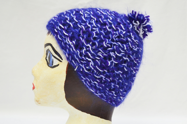 Purple Blue and White Hand Knitted Hat