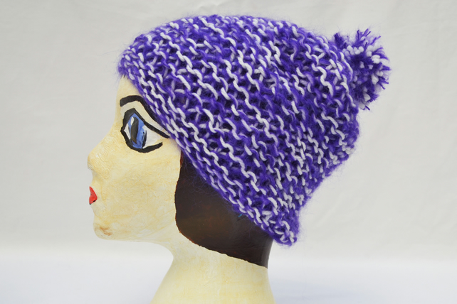 Purple and White hand knit Hat