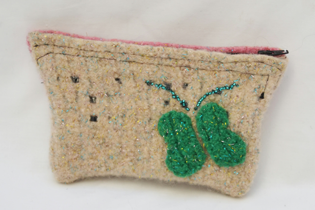 Small felt Cream and Pink glitter purse with Green butterfly