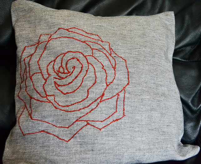 Red Embroidered flower Cushion cover