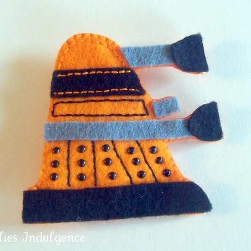 Orange felt dalek brooch
