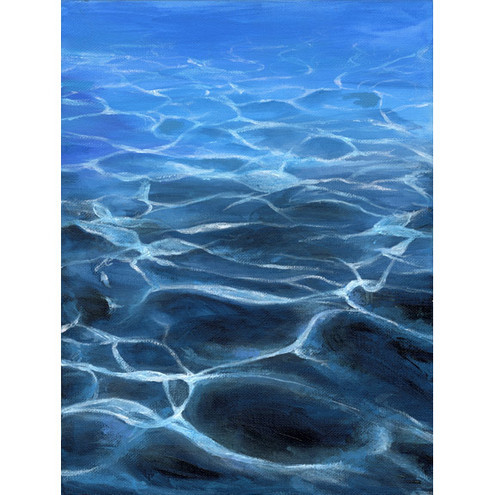 'Underwater', A4 Fine Art Seascape Light Patterns Painting Print