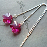 Fuchsia Pink Swarovski Flower Earrings