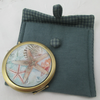 Pocket mirror & case starfish shells