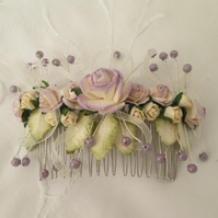 Hair comb lilac cream roses silver