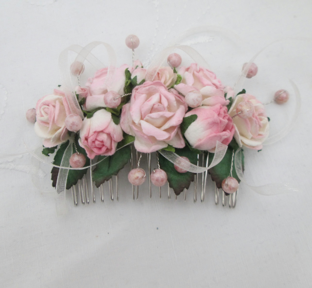 Hair comb pink cream roses silver