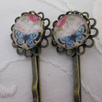 Hair pins - butterfly pink rose
