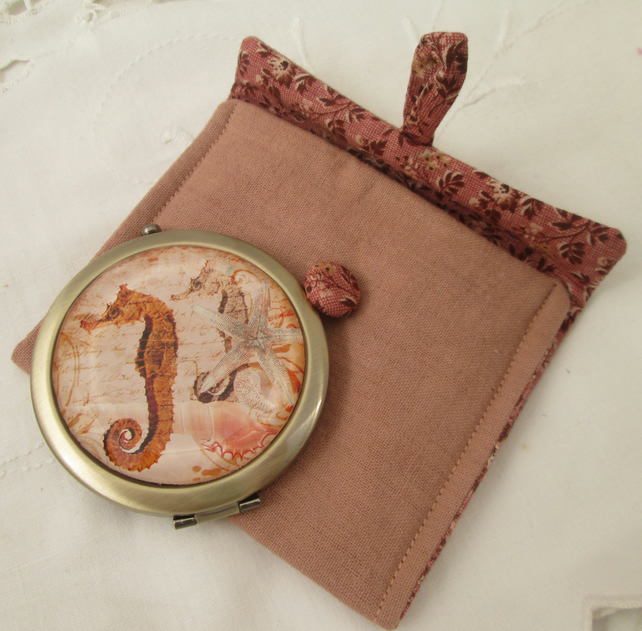 Pocket mirror & case seahorses