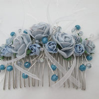 Hair comb blue roses silver