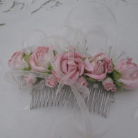 Hair comb pink roses rosebuds silver