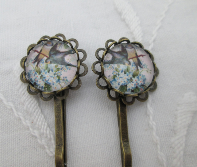 Hair pins - birds white blue flowers