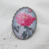 Cabochon ring 30 x 40mm antique bronze, dark pink roses, adjustable