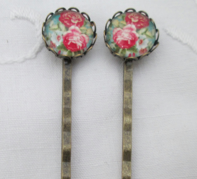 Hair pins - red blue flowers