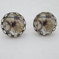 Earrings dragonfly compass