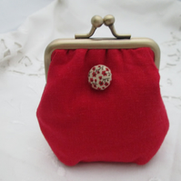 Coin purse mini red with button