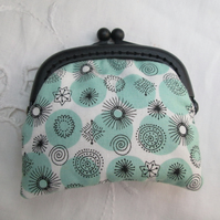 Coin purse mini green black stars