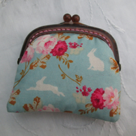 Coin purse mini bunnies roses blue