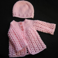 Baby Girl Cardigan and Hat