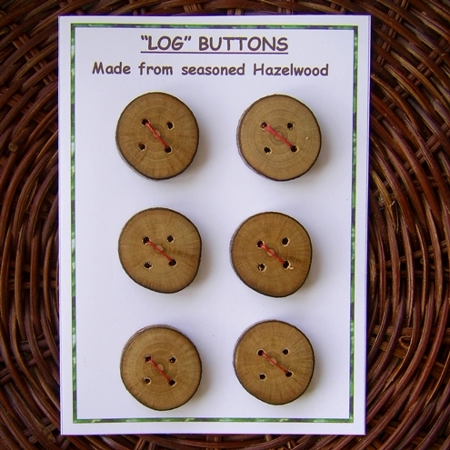 "6 Handmade Hazel wood ""Log"" Buttons"
