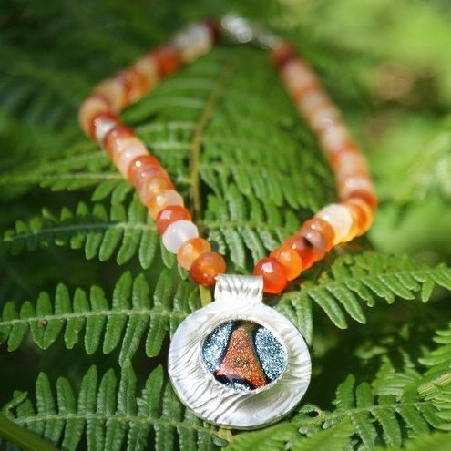 Deserts Echo Neclace with Carnelian, dichroic glass and fine silver
