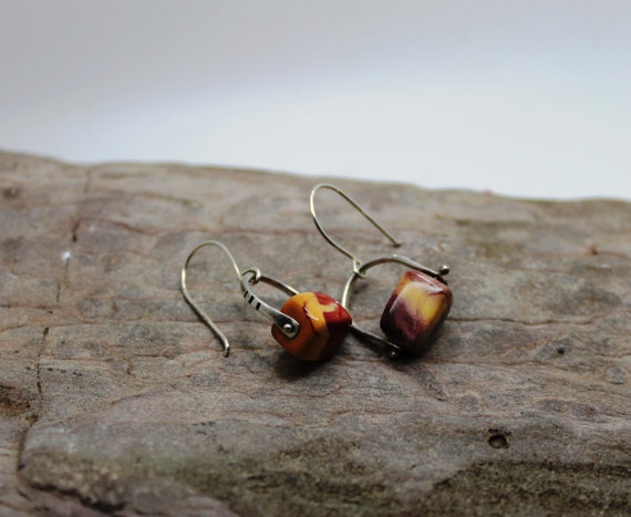 Mookaite Austarlian Jasper sterling silver pinned earrings,  earthy. 925