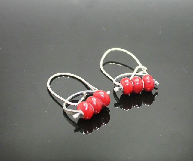 Coral red pinned bead sterling silver earrings, and crafted, hallmarked annamai