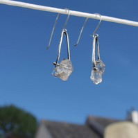 Beautiful quality clear herkimer diamond pinned sterling silver earrings, dangle